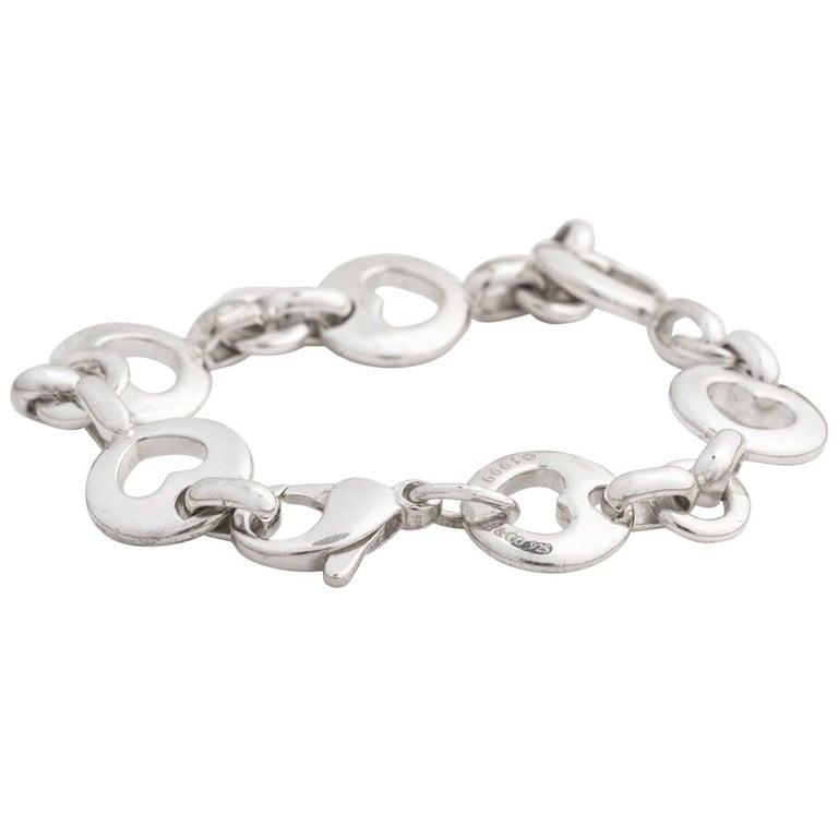 Tiffany & Co. Heart Link Sterling Silver Charm Bracelet For Sale