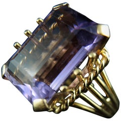 Amethyst Vintage Ring, 18 Karat Gold, 1970s