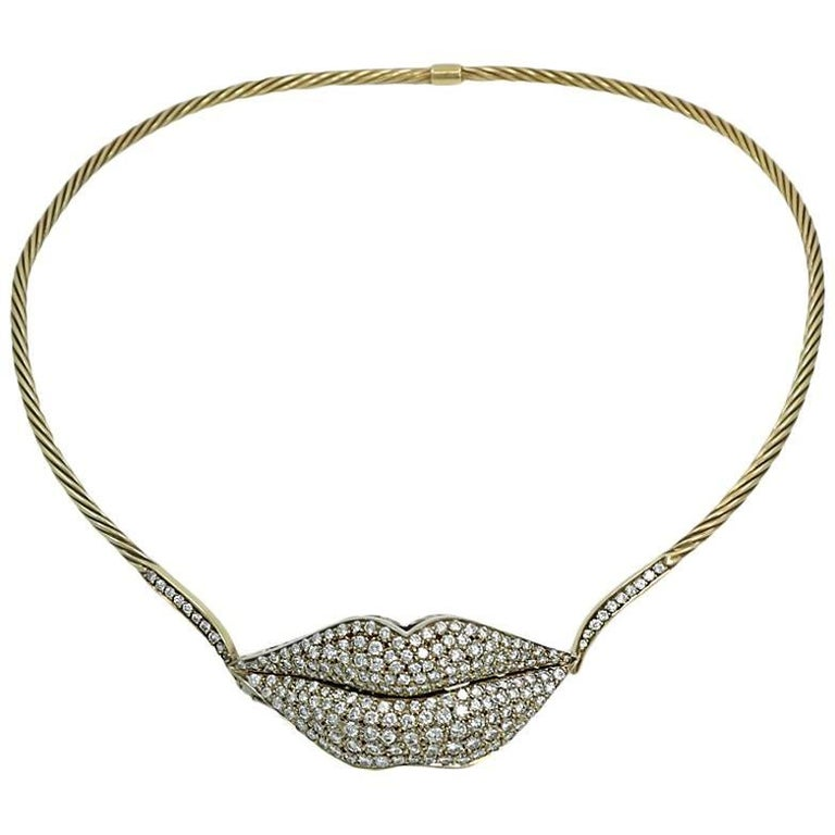 3.00 Carat Two-Tone Gold Choker Necklace with Pave Diamonds