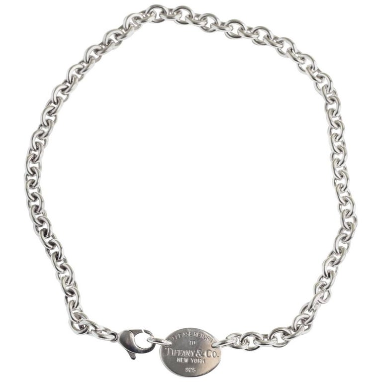 acd504d3e Tiffany & Co. Return to Tiffany Oval Tag Pendant Sterling Silver Necklace  For Sale