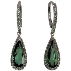 18 Karat White Gold Drop Earrings with Green Tourmalines and Diamonds