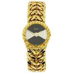 Piaget Yellow Gold Diamond Onyx Dial Wristwatch