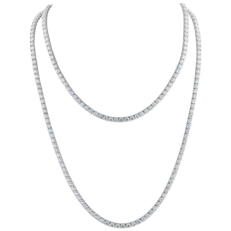 230 Brilliant Diamonds, 55.60 Carat, Set in Two Tennis Necklaces Combo