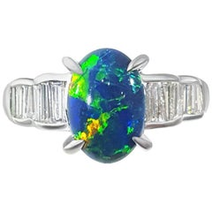 1.68 Carat Black Opal and Diamond Platinum Ring