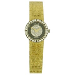 Piaget Ladies Yellow Gold Diamond Dial and Bezel Onyx quartz Wristwatch