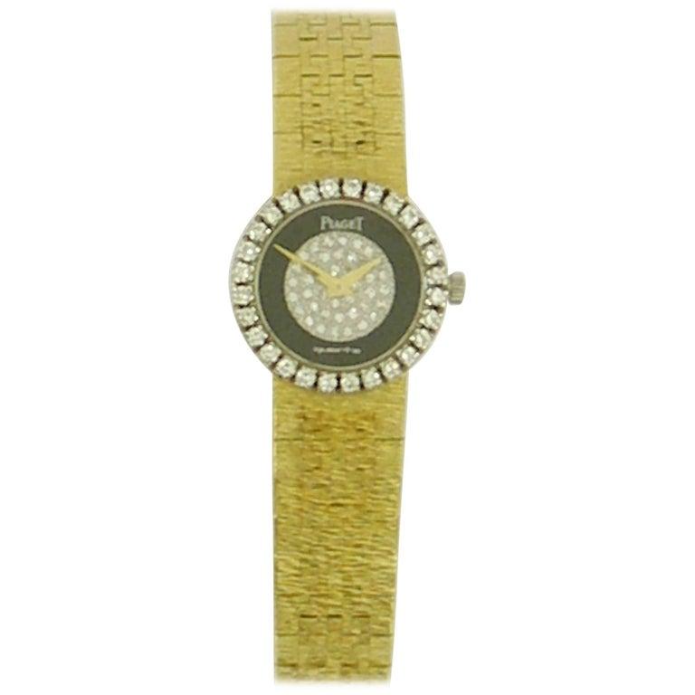 Piaget Ladies Yellow Gold Diamond Dial and Bezel Onyx quartz Wristwatch