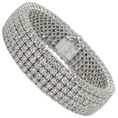 32.55 Carat Five-Row Diamond White Gold Bracelet