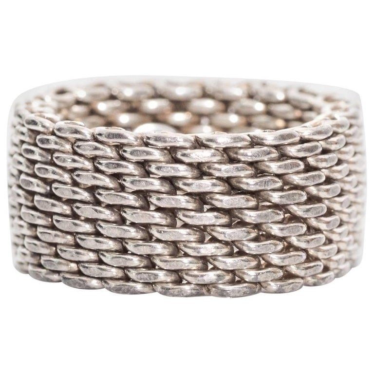 64c6bb5b28a29 Tiffany & Co. Somerset Sterling Silver Mesh Chain Link Ring, size 7.5