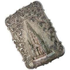 Nathaniel Mills Castle Top Solid Silver Victorian Card Case the Scott Memorial