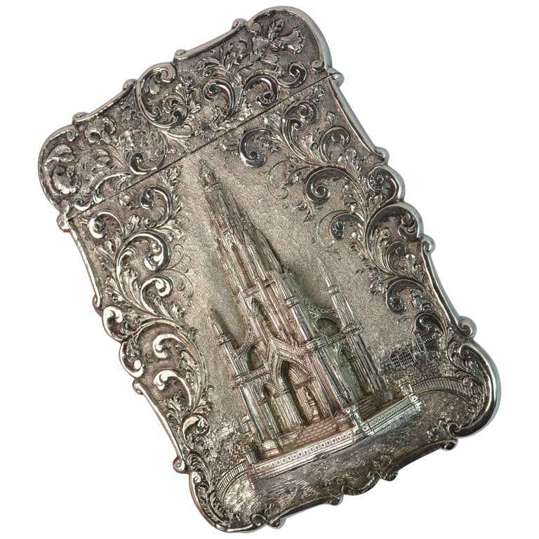 Nathaniel Mills Castle Top Solid Silver Victorian Card Case the Scott Memorial For Sale