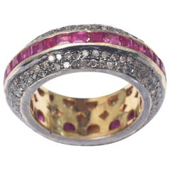 Channel Set Rubies and Pave Diamond Ring