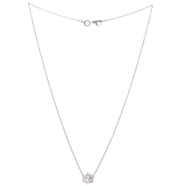 Tiffany & Co. Diamond Platinum Flower Pendant