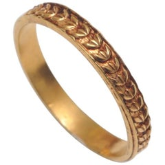 22 Karat Gold Band with Laurel Wreath Design