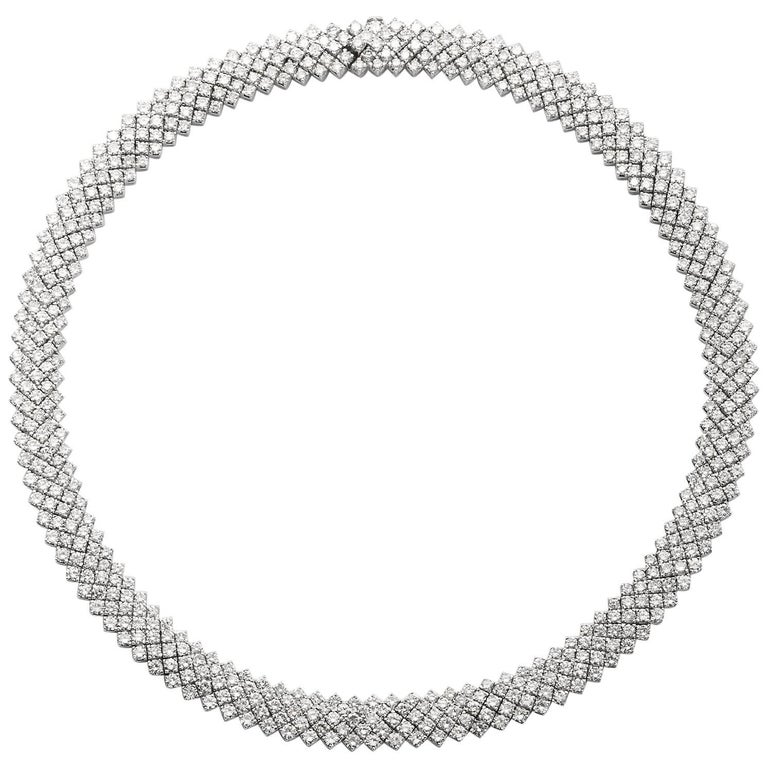 30 Carat Diamond White Gold Five Line Necklace For Sale