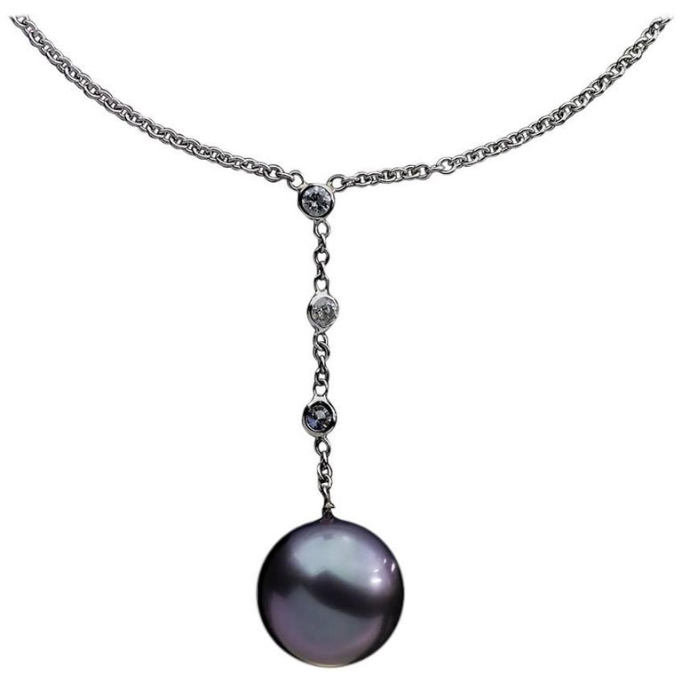 White Gold Tahitian Pearl and Diamond Pendant Necklace