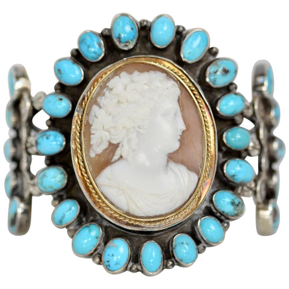 Jill Garber Nineteenth Century Carved Goddess Cameo with Turquoise Cuff Bracelet