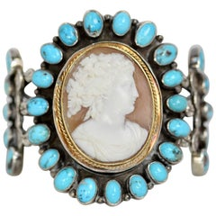 Jill Garber Antique Goddess Cameo with Turquoise Sterling Silver Cuff Bracelet