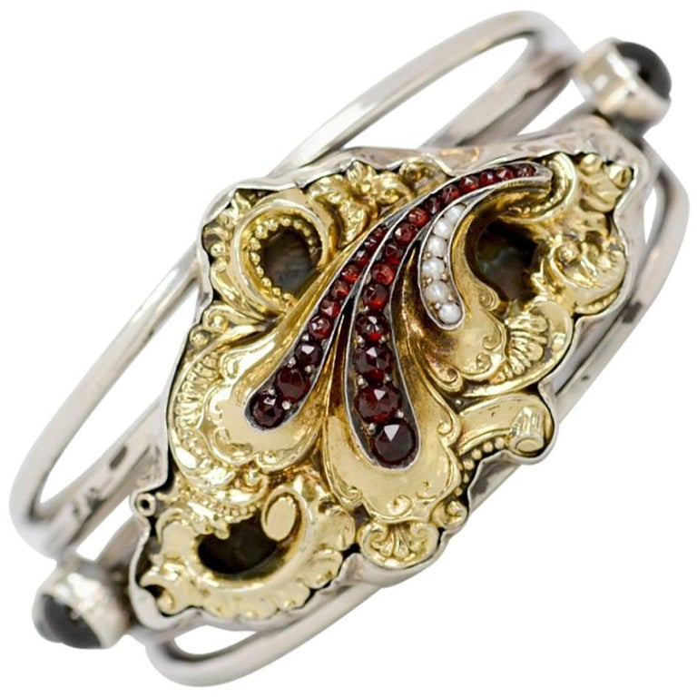 Jill Garber Antique Georgian 14 Karat Gold with Garnets Silver Cuff Bracelet