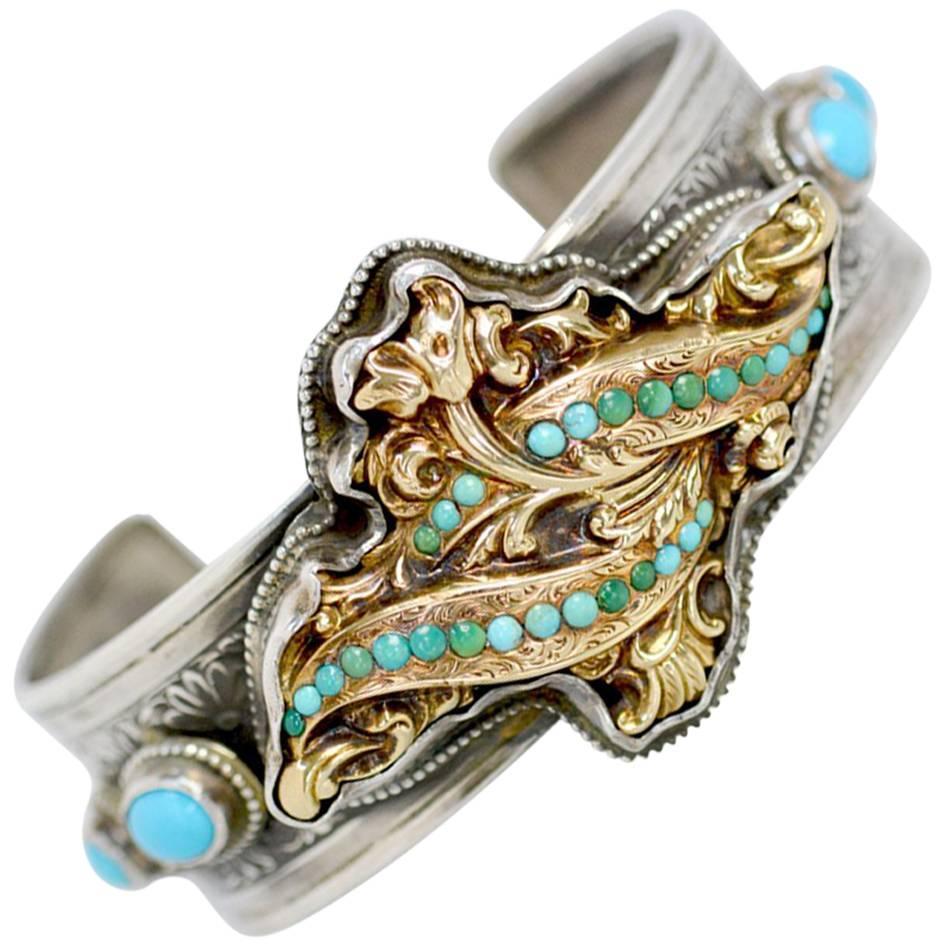 Jill Garber Antique Georgian Gold with Persian Turquoise Modern Cuff Bracelet