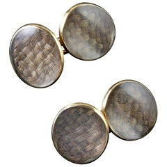 Antique Georgian Gold Mourning, circa 1780 Cufflinks