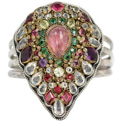 Jill Garber Early Hobe  Pink Tourmaline and Peridot Cuff Bracelet