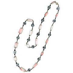 Coral Yellow Gold Chain Necklace