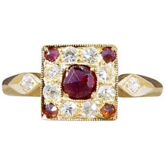 Garnet and Diamond Square 18 Carat Gold Ring