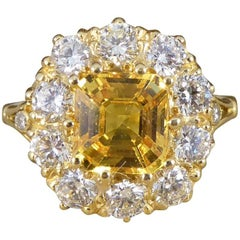 Yellow Sapphire Diamond 18 Carat Gold Cluster Engagement Ring