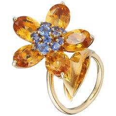 Van Cleef & Arpels Flower Ring Blue Sapphire Citrines