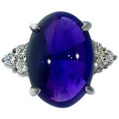 8.10 Carat Cabochon Amethyst and Diamond Accent Platinum Ring