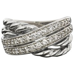 David Yurman 0.72 Carat Diamond Two-Row Sterling Silver Crossover Ring