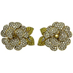 Vintage Van Cleef & Arpels Fancy Diamond Floral Earrings