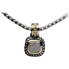 David Yurman Albion Pave Diamond Sterling Silver and 18 Karat Gold Enhancer