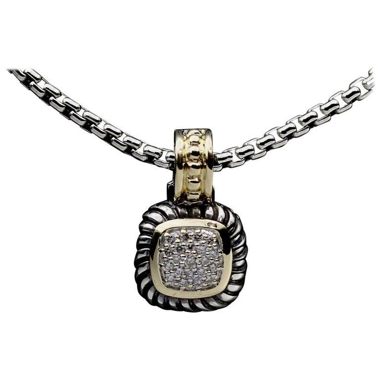 David Yurman Albion Pave Diamond Sterling Silver and 18 Karat Gold Enhancer