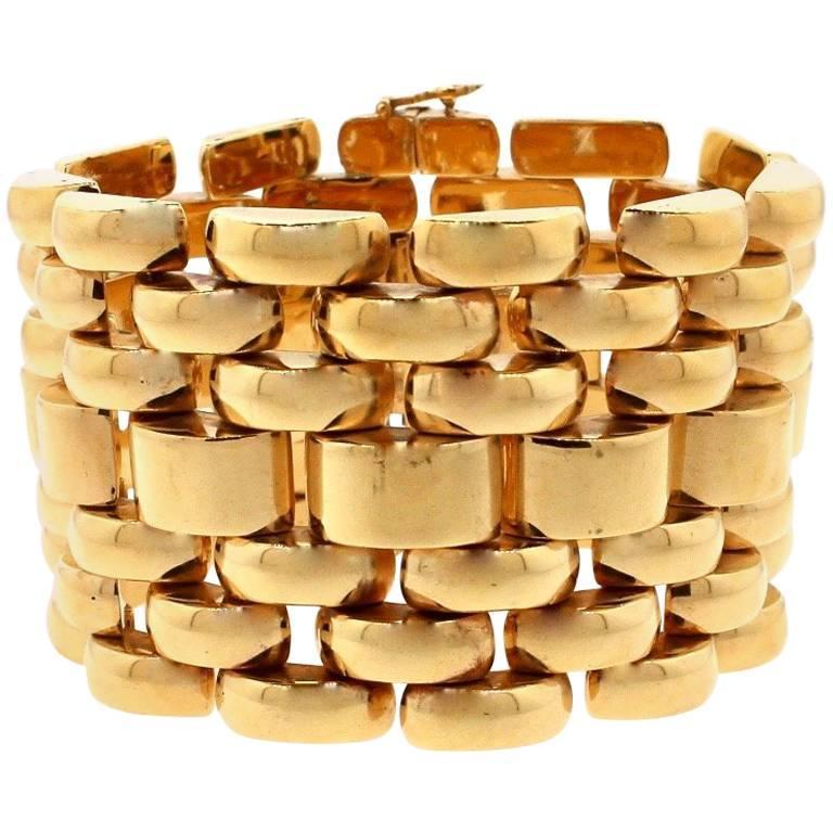 Modernist Retro 18 Karat Yellow Gold Wide Tank Bracelet