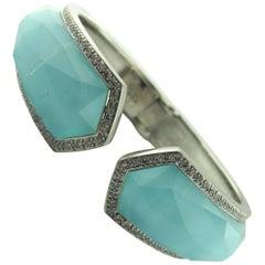 Stephan Webster 18 Karat White Gold Turquoise and Diamond Bracelet