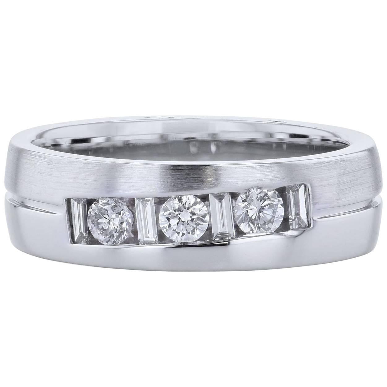 Men's 0.75 Carat Round and Baguette Diamond Band Wedding Ring Size 10