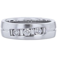 0.75 Carat Round and Baguette Diamond Band Ring