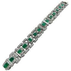 1930s Art Deco Emerald Diamond Platinum Bracelet