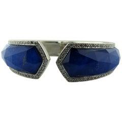 Stephan Webster 18 Karat White Gold Lapis and Diamond Crystal Hazer Bracelet