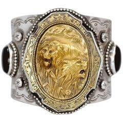 Jill Garber Art Nouveau Lion with Lioness and Black Onyx Sterling Cuff Bracelet
