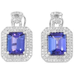 14 Karat White Gold Tanzanite Diamond Earrings