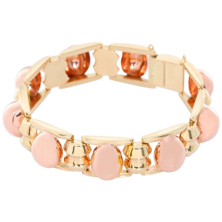 14 Karat Yellow Gold and Rose Gold Bracelet For Sale