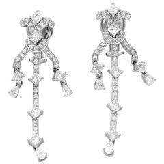 18 Karat White Gold and Diamond Dangling Earrings