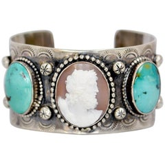 Jill Garber Antique Cameo of Zeus Kingman Turquoise Modern Sterling Cuff