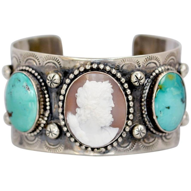Jill Garber Antique Cameo of Zeus with Kingman Turquoise Sterling Cuff Bracelet