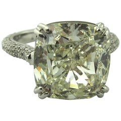 9.30 Carat GIA Cushion Cut Diamond Ring