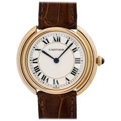 Cartier Yellow Gold Vendome Tank manual wind Wristwatch, circa 1980s