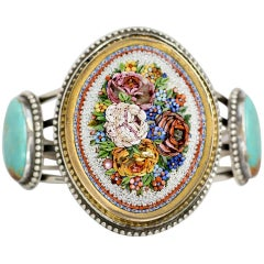 Jill Garber Antique Venetian Floral Micro Mosaic and Turquoise Cuff Bracelet