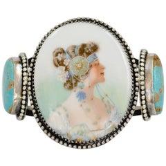 Jill Garber Rare Art Nouveau Mucha Goddess Portrait with Turquoise Cuff Bracelet